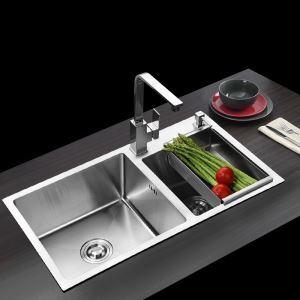 キッチン用流し台(蛇口なし) 台所の流し台 手作りシンク #304ステンレス製流し台 2槽 80*45cm