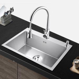 キッチン用流し台(蛇口なし) 台所の流し台 手作りシンク #304ステンレス製流し台 55*45cm