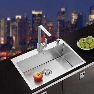 キッチン用流し台(蛇口なし) 台所の流し台 手作りシンク #304ステンレス製流し台 68*48cm