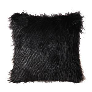 クッションカバー 抱き枕カバー フワフワ 人工毛皮 黒色 14DP021