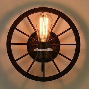 壁掛けライト ウォールランプ 工業風照明 照明器具 ロフト 店舗 玄関 車輪型 ビンテージ 1灯 LB64063