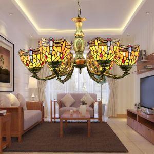 ステンドグラスランプ シャンデリア ティファニーライト 照明器具 リビング/店舗照明 6灯 BEH403414