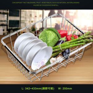 台所の流し台用カゴ #34ステンレス製 調節可能