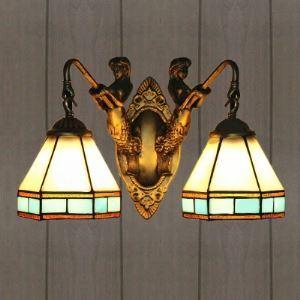 ティファニーライト 壁掛けライト 壁掛け照明 ウォールランプ ステンドグラス製 マーメイド 2灯 BEH403757