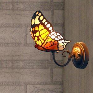 ティファニーライト 壁掛け照明 ステンドグラスランプ ウォールライト 照明器具 蝶型 1灯 BEH403560