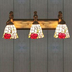 ティファニーライト 壁掛けライト 壁掛け照明 ウォールランプ ステンドグラス製 ローズ柄 3灯 BEH402983