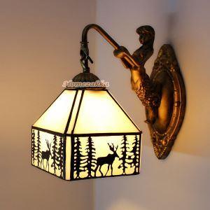 ティファニーライト 壁掛け照明 ステンドグラスランプ ウォールライト 照明器具 鹿柄 1灯 BEH403983