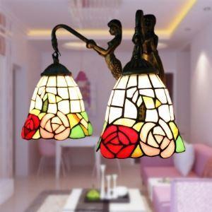ティファニーライト 壁掛けライト 壁掛け照明 ウォールランプ ステンドグラス製 2灯 BEH403299