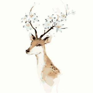 【天才画家】数字絵画 DIY手描き絵画 塗り絵 ハンドメイド油絵 絵具セット 鹿&花A 40*50