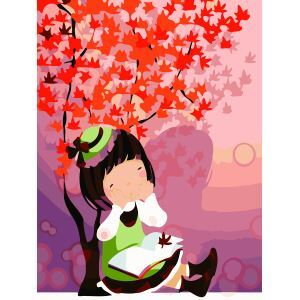 【大人の塗り絵】数字絵画 DIY手描き絵画 塗り絵 ハンドメイド油絵 絵具セット 秋&女の子A 30*40