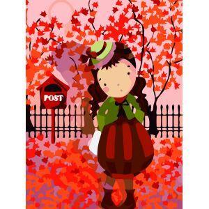 【天才画家】数字絵画 DIY手描き絵画 塗り絵 ハンドメイド油絵 絵具セット 秋&少女 30*40