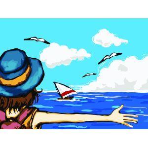 【天才画家】数字絵画 DIY手描き絵画 塗り絵 ハンドメイド油絵 絵具セット 大海 30*40