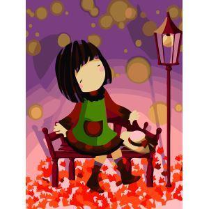 【大人の塗り絵】数字絵画 DIY手描き絵画 塗り絵 ハンドメイド油絵 絵具セット 秋&女の子B 30*40