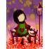 【天才画家】DIY手描き絵画 塗り絵 ハンドメイド絵画 油絵具セット付き 秋&女の子B 30*40