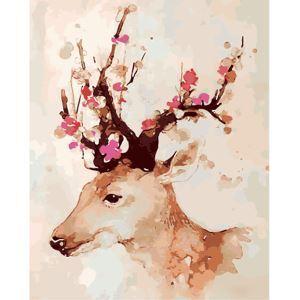 【天才画家】数字絵画 DIY手描き絵画 塗り絵 ハンドメイド油絵 絵具セット 鹿&花B 40*50