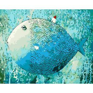 【天才画家】数字絵画 DIY手描き絵画 塗り絵 ハンドメイド油絵 絵具セット 睡眠魚 40*50