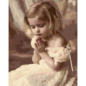 【大人の塗り絵】数字絵画 DIY手描き絵画 塗り絵 ハンドメイド油絵 絵具セット 祈る女の子 40*50