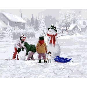 【天才画家】数字絵画 DIY手描き絵画 塗り絵 ハンドメイド油絵 絵具セット 雪だるまA 40*50