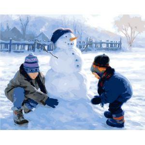 【大人の塗り絵】数字絵画 DIY手描き絵画 塗り絵 ハンドメイド油絵 絵具セット 雪だるまB 40*50