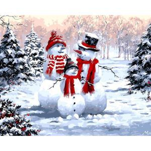 【天才画家】数字絵画 DIY手描き絵画 塗り絵 ハンドメイド油絵 絵具セット 雪だるまD 40*50