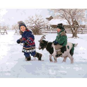 【大人の塗り絵】数字絵画 DIY手描き絵画 塗り絵 ハンドメイド油絵 絵具セット 子供&ヤギ 40*50