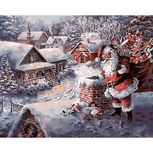 【天才画家】数字絵画 DIY手描き絵画 塗り絵 ハンドメイド油絵 絵具セット サンタクロース 40*50