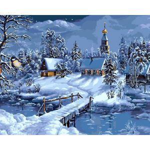 【天才画家】数字絵画 DIY手描き絵画 塗り絵 ハンドメイド油絵 絵具セット 雪景色B 40*50