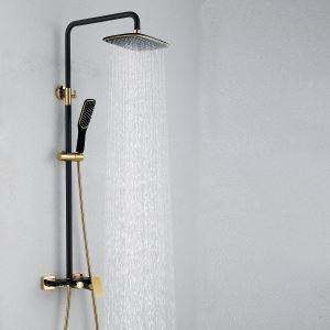 レインシャワーシステム ヘッドシャワー+ハンドシャワー+蛇口 真鍮製 ORB&Ti-PVD 019