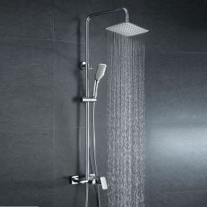 レインシャワーシステム ヘッドシャワー+ハンドシャワー+蛇口 真鍮製 クロム 020