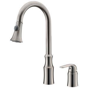 キッチン蛇口 台所蛇口 引出し式水栓 冷熱混合栓 真鍮製 ヘアライン HYS032