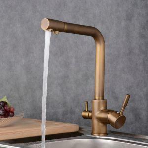 台所蛇口 キッチン蛇口 2ハンドル混合栓 真鍮製 ブロンズ BL2903A