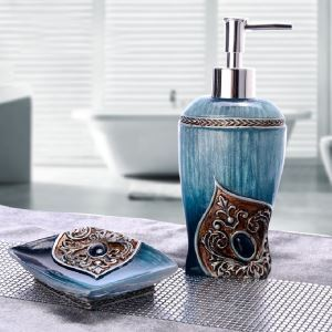 浴室用品 サニタリー容器 樹脂製 パロック風 2点セット BE013