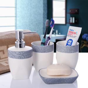 浴室用品 サニタリー容器 陶器製 創造的 4点セット BE015
