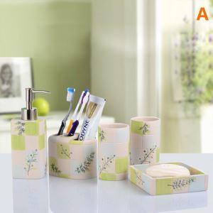 浴室用品 サニタリー容器 樹脂製 田舎風 6点セット BE018
