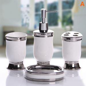 浴室用品 サニタリー容器 陶器製 白色 4/5点セット BE020