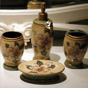 浴室用品 サニタリー容器 陶器製 創造的 5点セット BE036