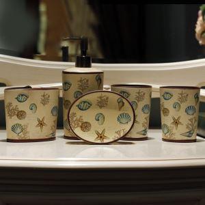 浴室用品 サニタリー容器 陶器製 創造的 5点セット BE038