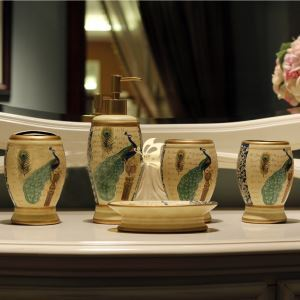 浴室用品 サニタリー容器 陶器製 クジャク 5点セット BE040