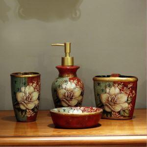 浴室用品 サニタリー容器 陶器製 創造的 5点セット BE045