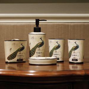浴室用品 サニタリー容器 陶器製 田舎風 クジャク 5点セット BE046