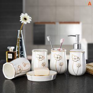 浴室用品 サニタリー容器 陶器製 田舎風 5点セット BE050