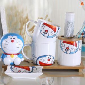 浴室用品 サニタリー容器 陶器製 ドラえもん 4/5点セット BE057