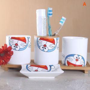 浴室用品 サニタリー容器 陶器製 ドラえもん 可愛い 4/5点セット BE058
