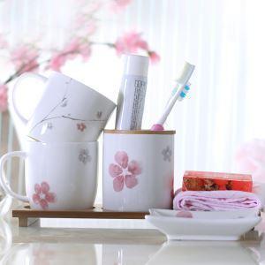 浴室用品 サニタリー容器 陶器製 梅花 4点セット BE064