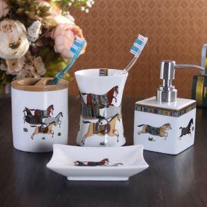 浴室用品 サニタリー容器 陶器製 馬 レトロ 4/5点セット BE066