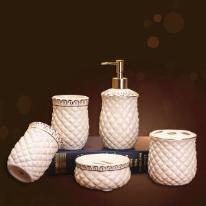 浴室用品 サニタリー容器 陶器製 田舎風 創造的 5点セット BE074