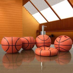 浴室用品 サニタリー容器 樹脂製 バスケットボール 5点セット BE082
