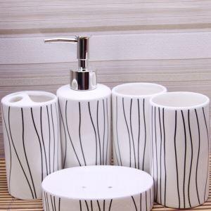 浴室用品 サニタリー容器 陶器製 創造的 5点セット BE100