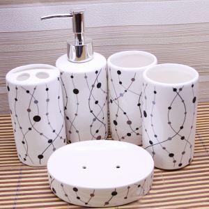 浴室用品 サニタリー容器 陶器製 幾何柄 5点セット BE101
