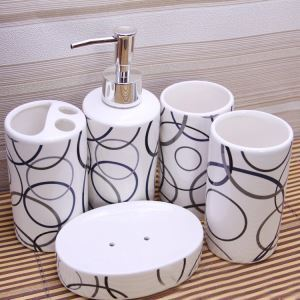 浴室用品 サニタリー容器 陶器製 幾何柄 5点セット BE102